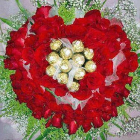 88 Red Roses With 11 Ferrero Rocher Chocolates Bouquet