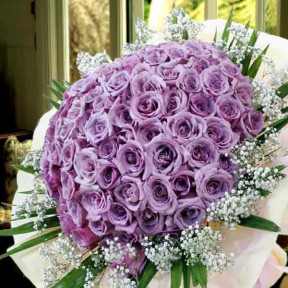 99 Natural Classic Purple Roses Handbouquet Kindly Order 2 Days