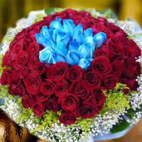 99 Roses  80 Red And  19 Blue Hand Bouquet