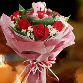 6 Red Roses With Bear At Centre
