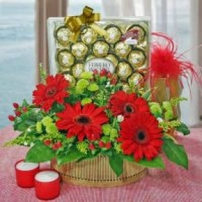 Red Gebera With 24 Ferrero Rocher