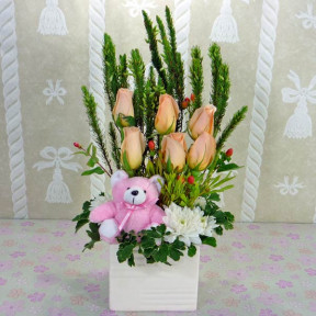 6 Champagne Roses With Bear Table Arrangement