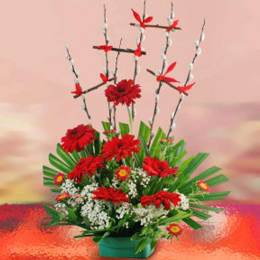 Red Gerbera Flowers Arrangement