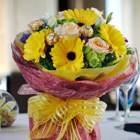 Gerbera, Champagne Rose And  Rocher Bouquet