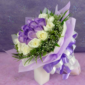 24 Roses  12Purple 12White Hand Bouquet