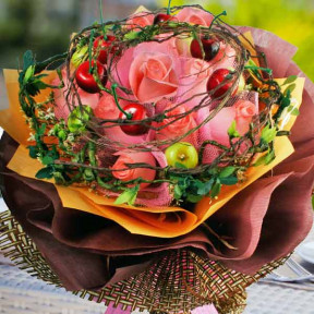 Peach Roses With Artificial Berry And  Twigs Special Hand Bouquet