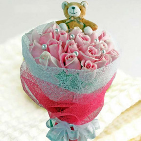 Small Bear And  Maria Pink Roses Bouquet Delivery