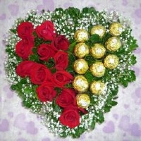 12 Red Roses And  12 Ferrero Rocher Heart-Shape Table Arrangement
