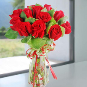 Mint Leaves And  Red Roses Bouquet