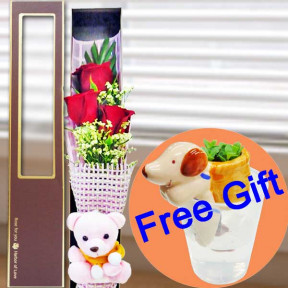 3 Red Roses And  Pink Bear In Gift Box