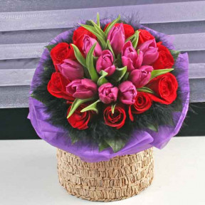 10 Purple Tulips And  10 Red Roses Hand Bouquet