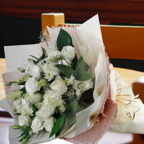 12 White Roses And  White Chrysanthemum Hand Bouquet
