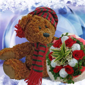 X'Mas Bear And  Roses Delivery