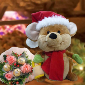 Singing Merry Mouse By Gund And  Roses Bouquet