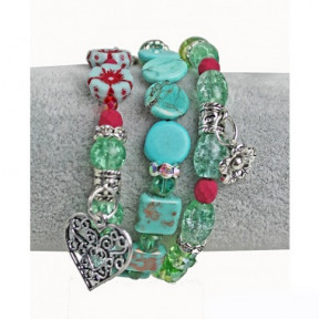 Bracelet Multilayer turquois green with flowers