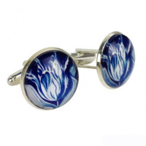 Cufflinks blue tulip in giftbox
