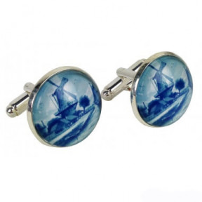 Cufflinks with blue mill in giftbox