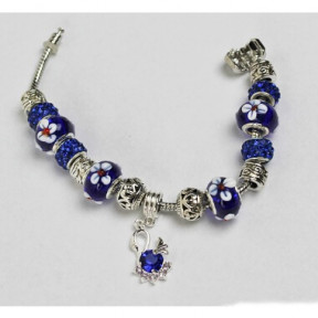 Bracelet Pandora style blue with flower