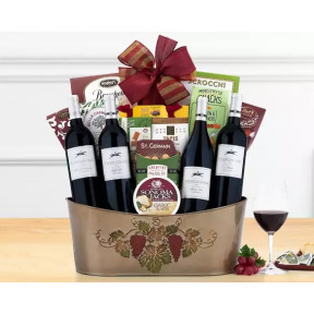 Barrel Hoops Red Wine Quartet Gift Basket