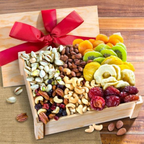 Dried Fruit And Nuts Gift Crate With Lid