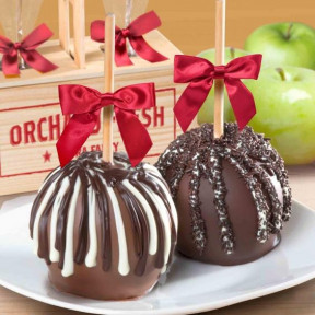 Milk And Dark Chocolate Covered Caramel Apples Pair In A Wooden Gift Crate