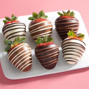 Chocolate Trio Dipped Strawberries - 6 Berries