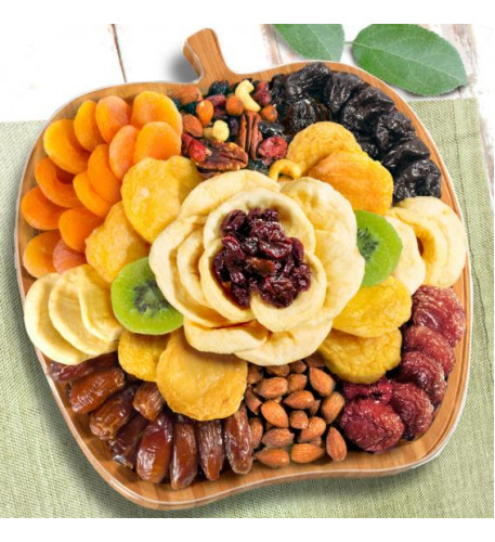 Dried Fruit And Nuts On Bamboo Apple Shape Cutting Board