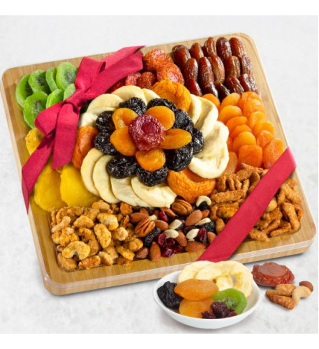 Platter Of Plenty Dried Fruit And Nuts Gift