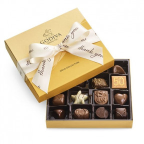 Assorted Chocolate Gold Gift Box, Thank You Ribbon, 19 pc.