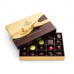 Dark Chocolate Gift Box, Gold Ribbon (15 Piece)