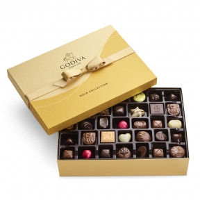 Assorted Chocolate Gold Gift Box, Gold Ribbon, 70 pc.