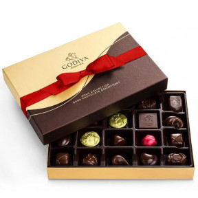 Dark Chocolate Gift Box, Red Ribbon, 22 Pc.