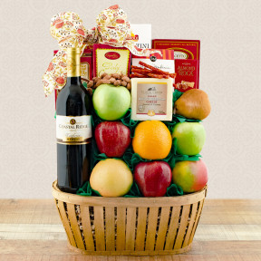 Talk Of The Town Fruit & Pinot Grigio Wine Gift Basket