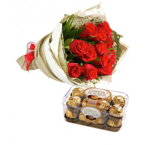 10 Red roses bunch with 16 Ferrero Rocher (Small)