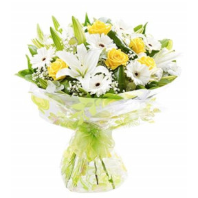 Yellow Roses, White Lilies And White Gerberas Bouquet
