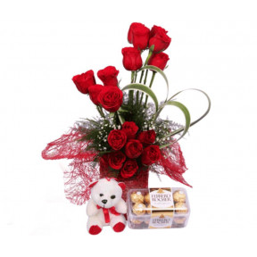 Red Roses With Ferrero Chocolates And A Free Teddy