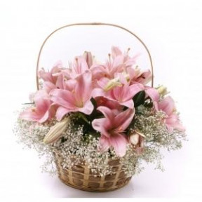 Upright Pink Lily Basket