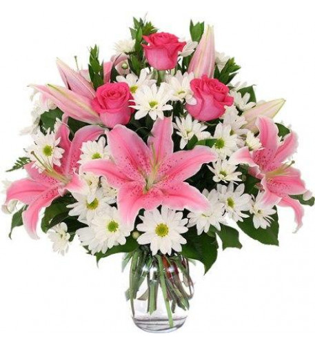 Pink And White Flowers Vase