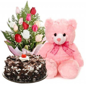 Mixed Roses, Teddy Bear And Black Forest Cake