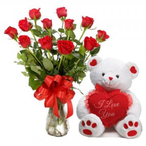12 Red Roses Vase And Teddy Bear
