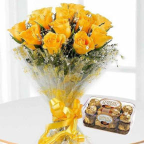 12 Yellow Roses Bouquet With 16 Ferrero Rocher