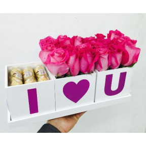 I Love You Tray Arrangement With 16 Ferrero Rocher Free