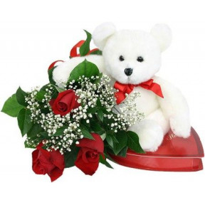 Red Roses, Teddy Bear And Chocolates