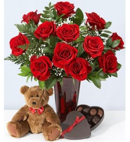 12 Red Roses, Teddy Bear And Chocolates
