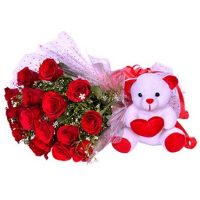 Red Roses And Teddy Bear