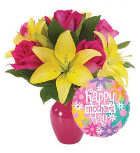 Yellow Lilies, Pink Roses Vase With 1 Mylar Balloon