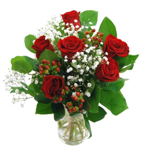 6 Red Roses Vasee