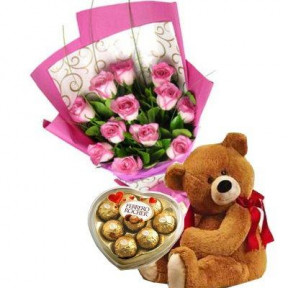 12 Pink Roses, Teddy Bear And  Chocolates