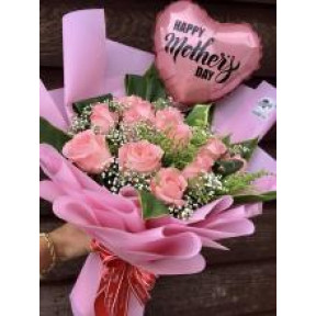 12 Pink Roses Bouquet With A Balloon