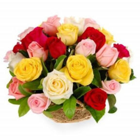 18 Mixed Roses Basket